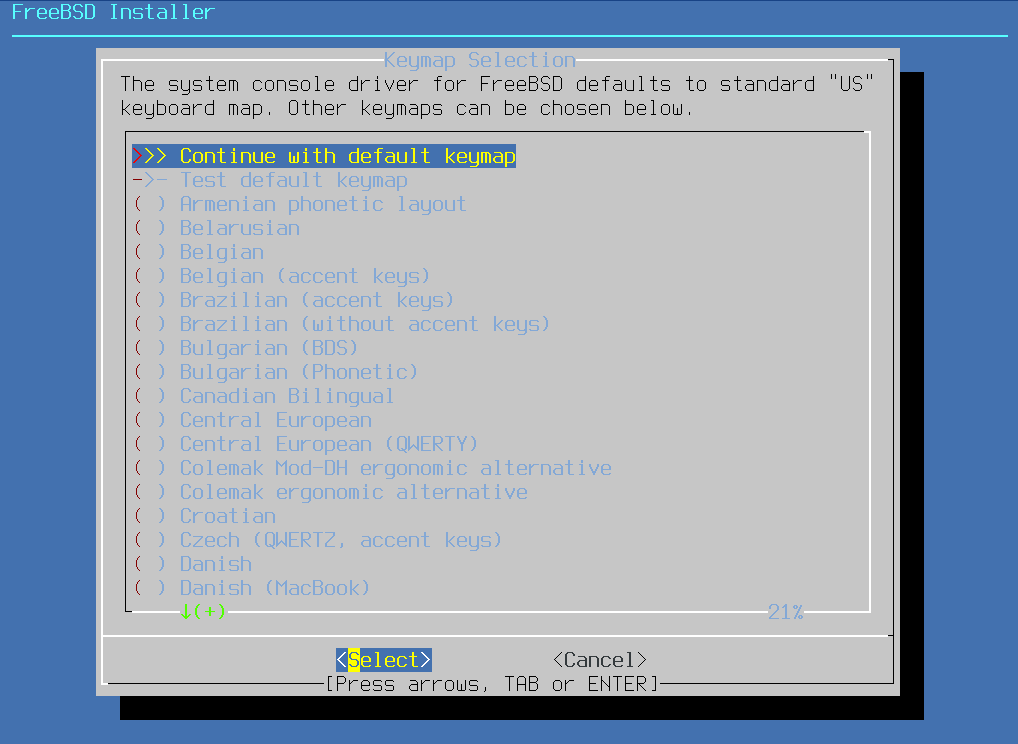 Install FreeBSD - Keymap Selection. Source: nudesystems.com