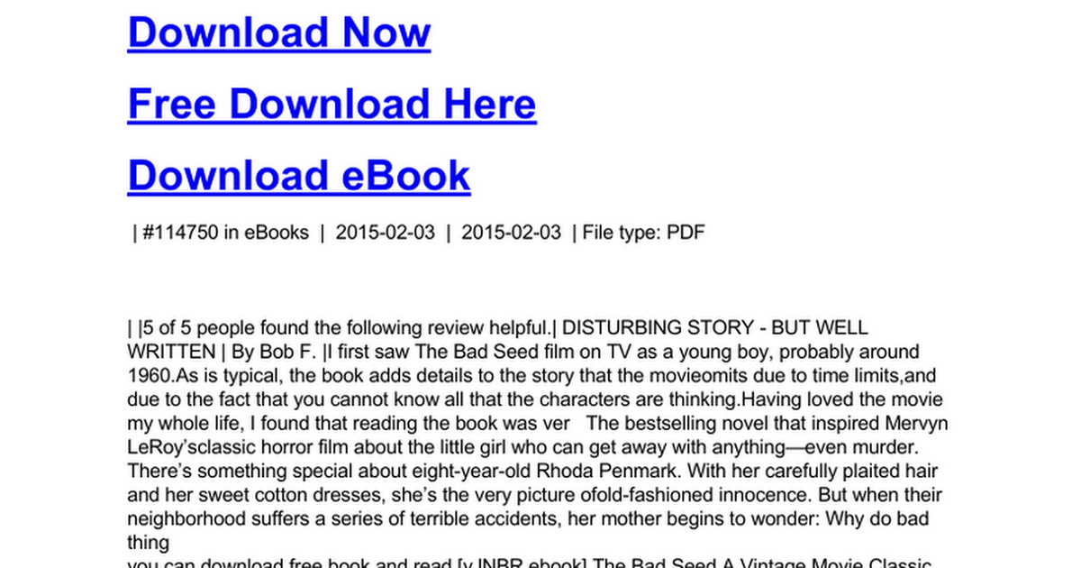 The bad seed a vintage movie classicc google docs fandeluxe Image collections