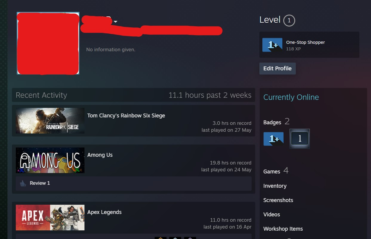 The Profile Settings window for a profile on Steam