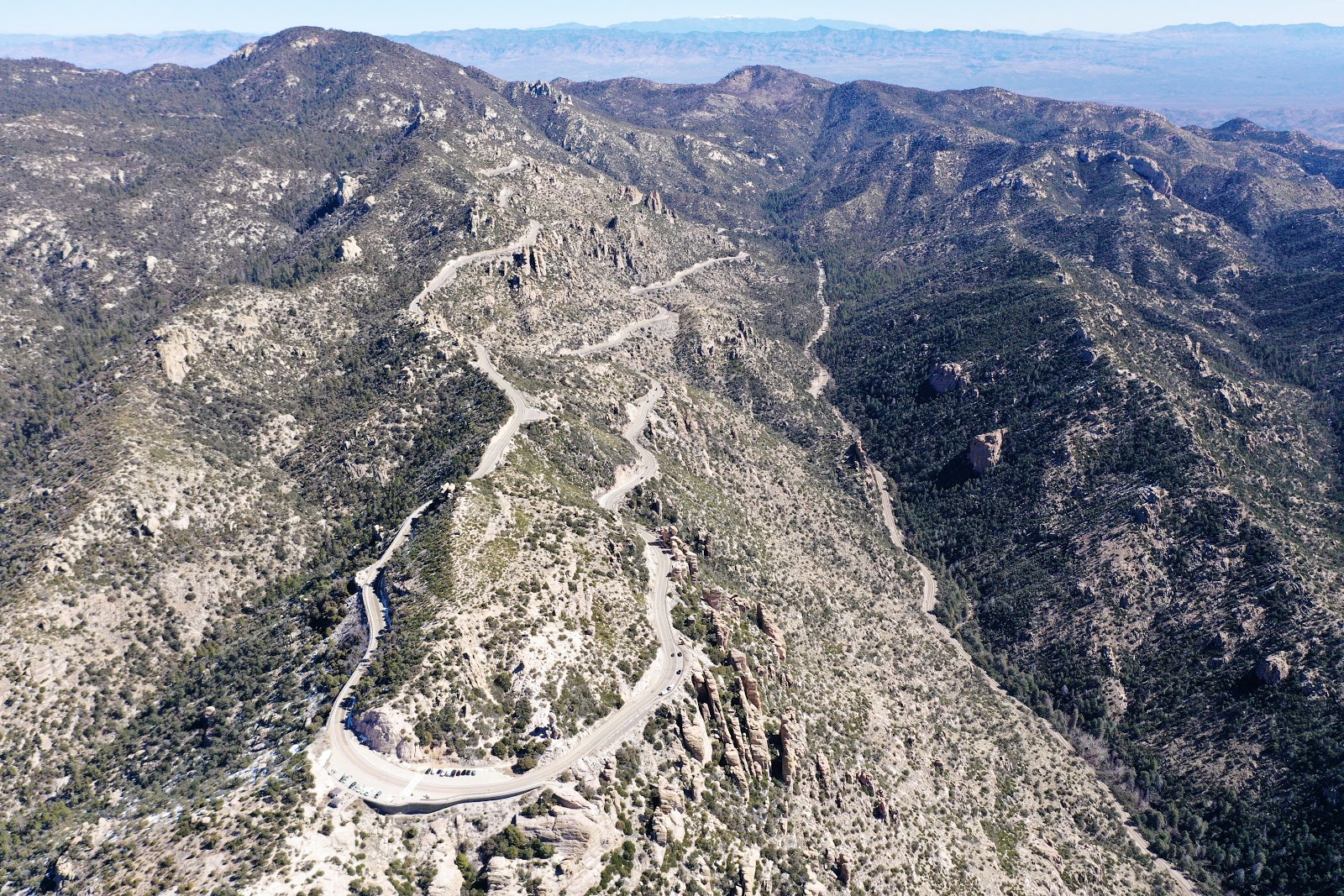 Cycling Mt. Lemmon - aerial drone photo of windy point