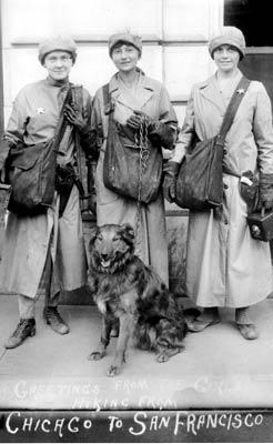 Three hiking women & a dog, about 1910.