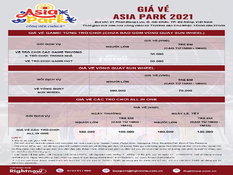 Bảng giá vé Công Viên Châu Á - Asia Park Da Nang mới nhất 2021