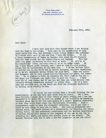 Letter from Stokowski to Bok, signed with his nickname 'Prince'