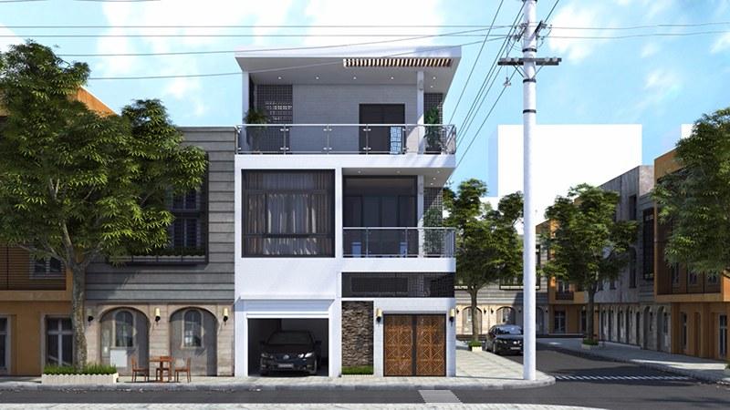 Mẫu thiết kế nhà 2 tầng 2 mặt tiền đẹp