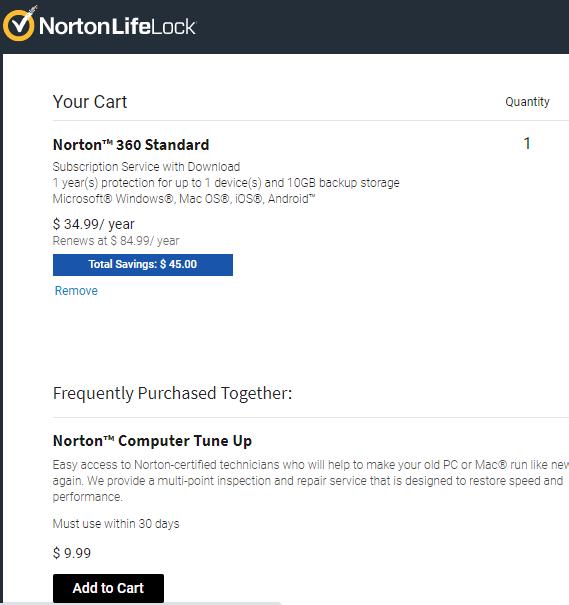 Norton VPN Adding To Cart