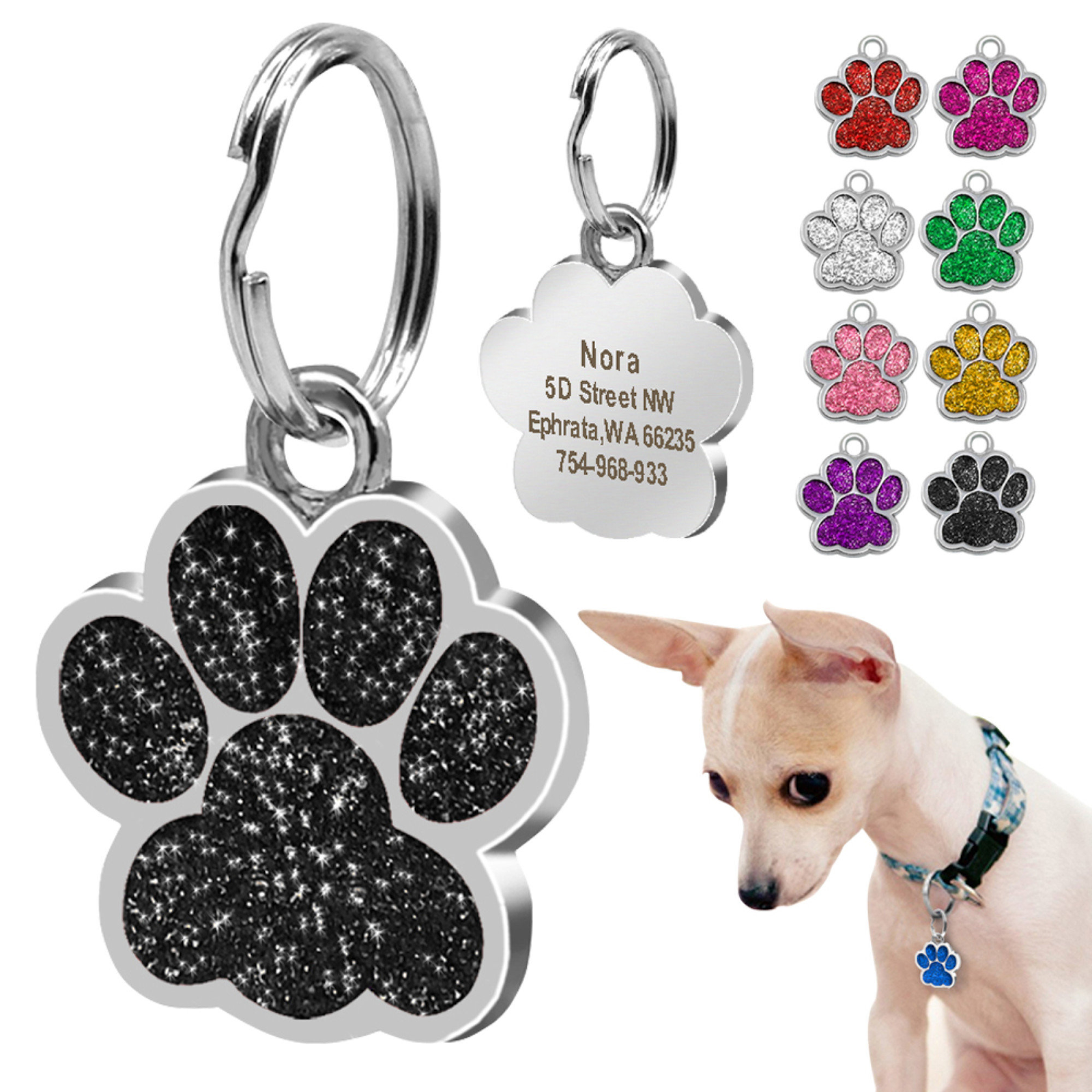 Dogs Personalized Name Tag Goes With A Leash Harness
