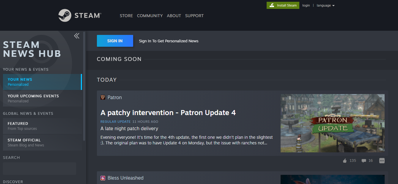 Steam news hub