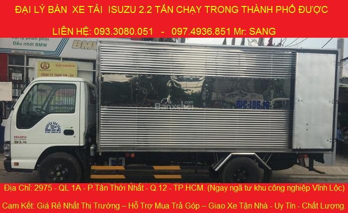 Bán xe isuzu 2.2 tấn QKR55H, xe tải isuzu 2 tấn 2, xe tải isuzu 2t2 thùng bạt, thùng kín giá rẻ.
