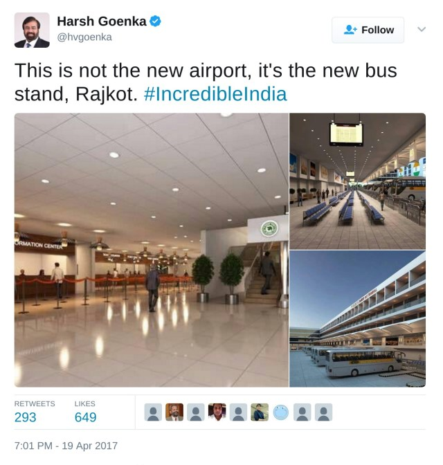 THis is not the new airport, it's the new bus stand, Rajkot.