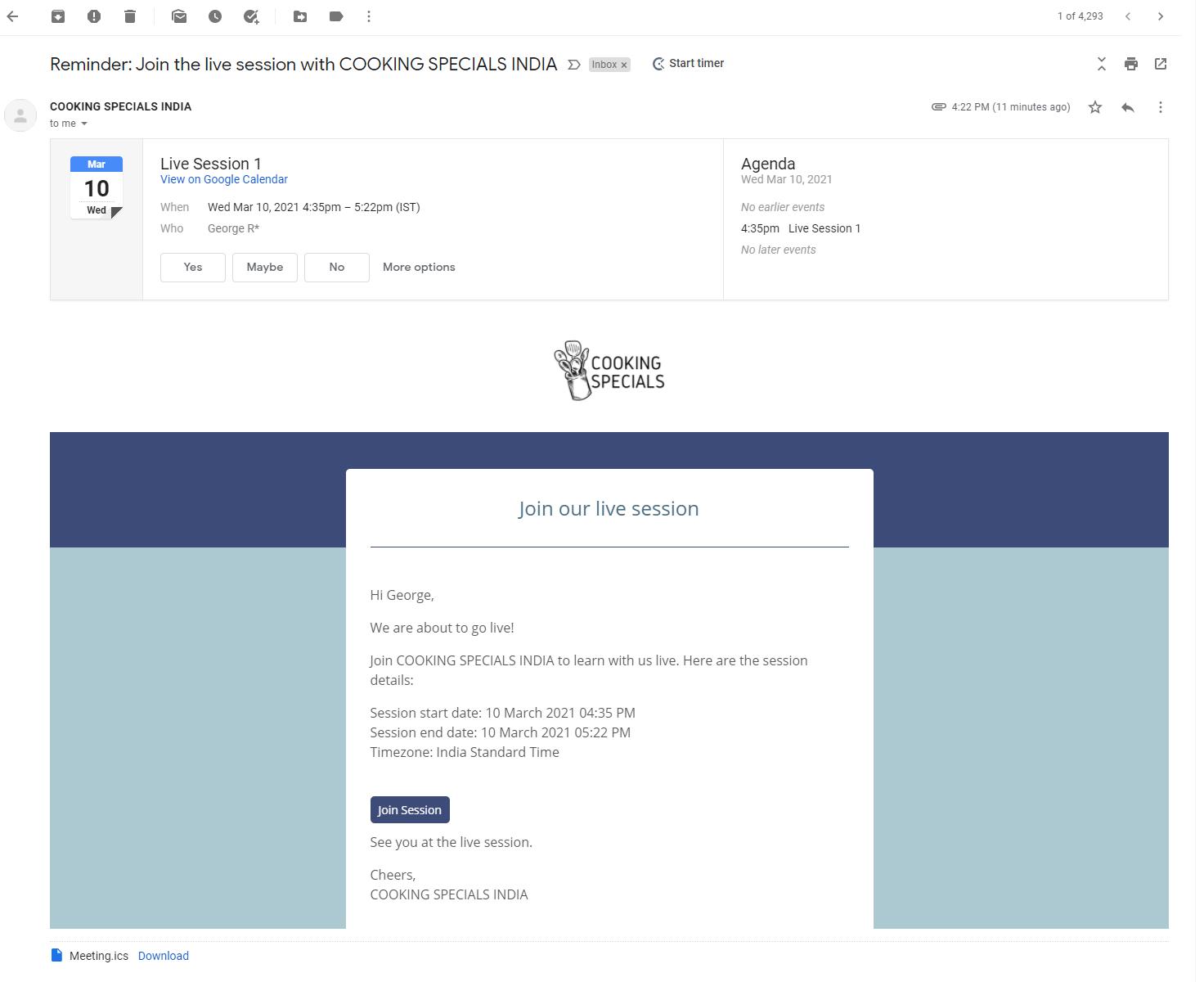 Live Sesison Automatic Email Reminder Knorish