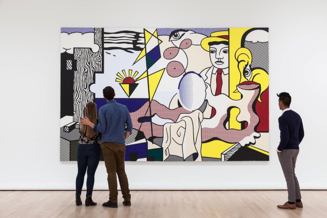 SFMOMA visitors admire a piece of modern art