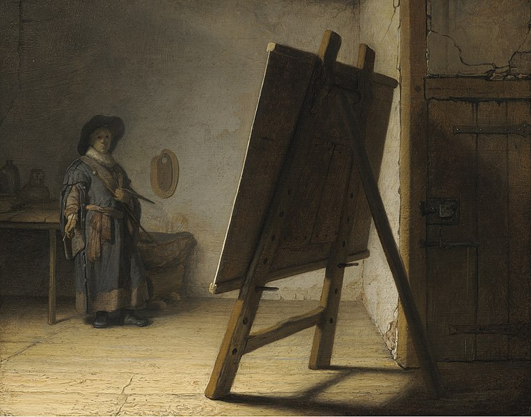 A dark, brooding self-portrait of Rembrandt, standing in the background with a large easel in front him.