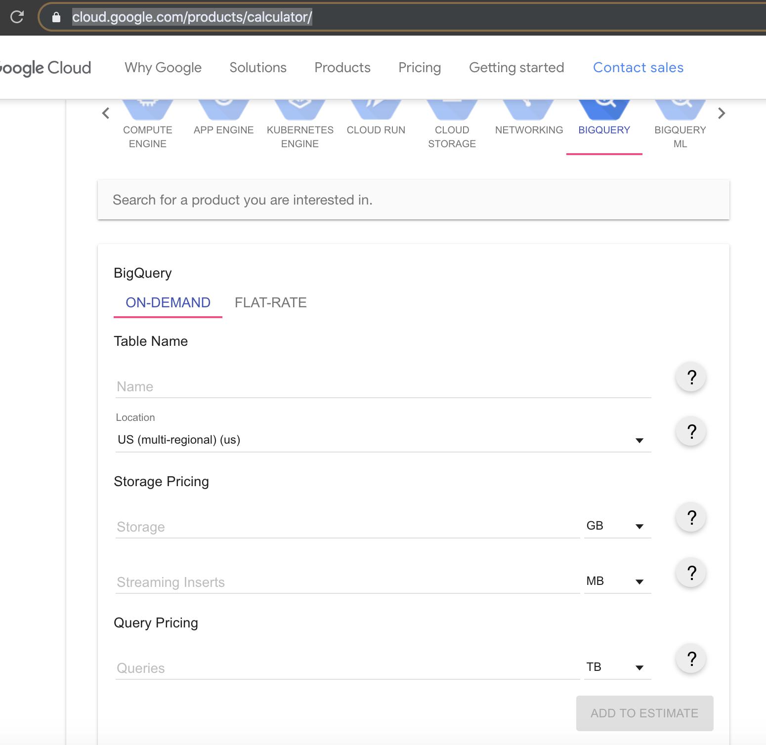 Google-BigQuery-Pricing-Calculator