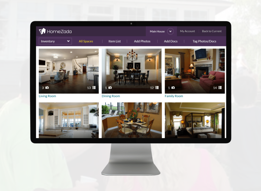 HomeZada - Home Management App | Dashboard view on Computer Monitor
