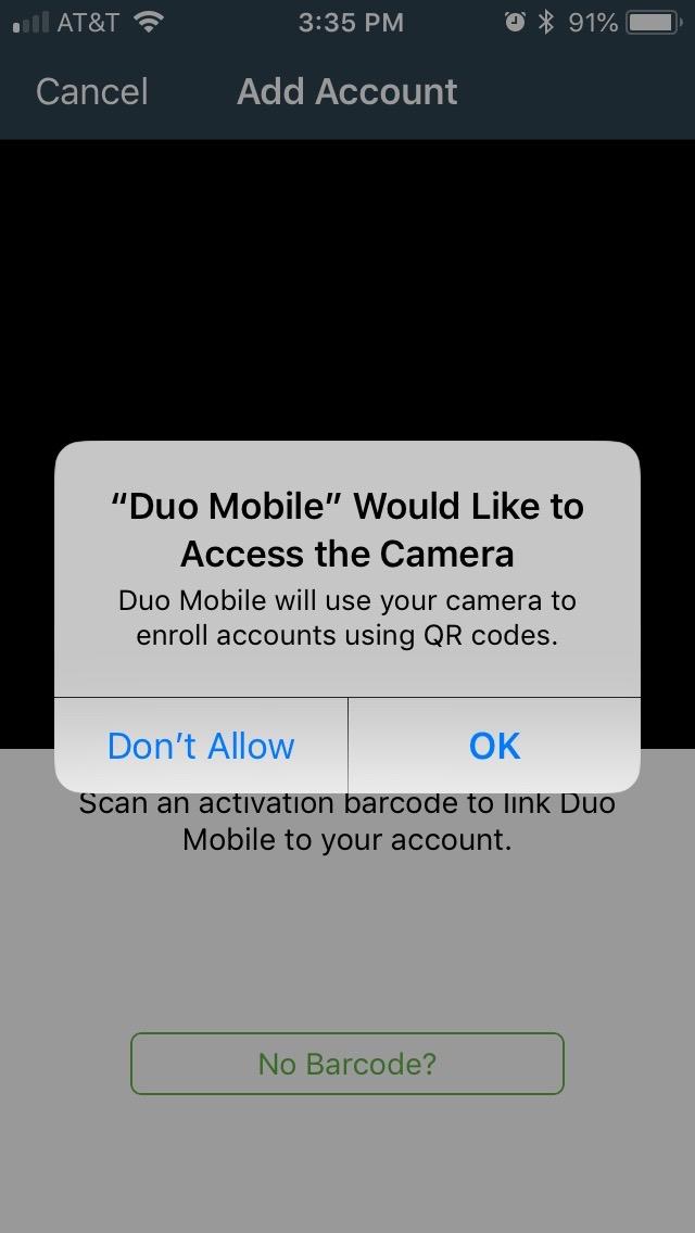 Visual Representation of Allowing App to Access Camera Screen