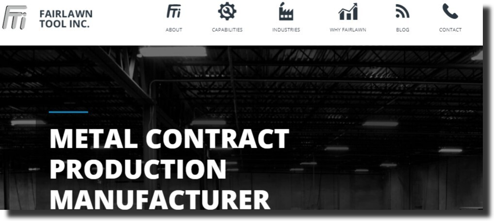 The website design for Fairlawn Tool Inc manufacturing website design