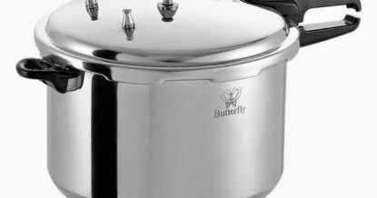 This is a large capacity pressure cooker with a sturdy but elegant design . Source: Best Choise Best Deal