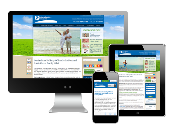 Indiana Podiatry Group website on all devices