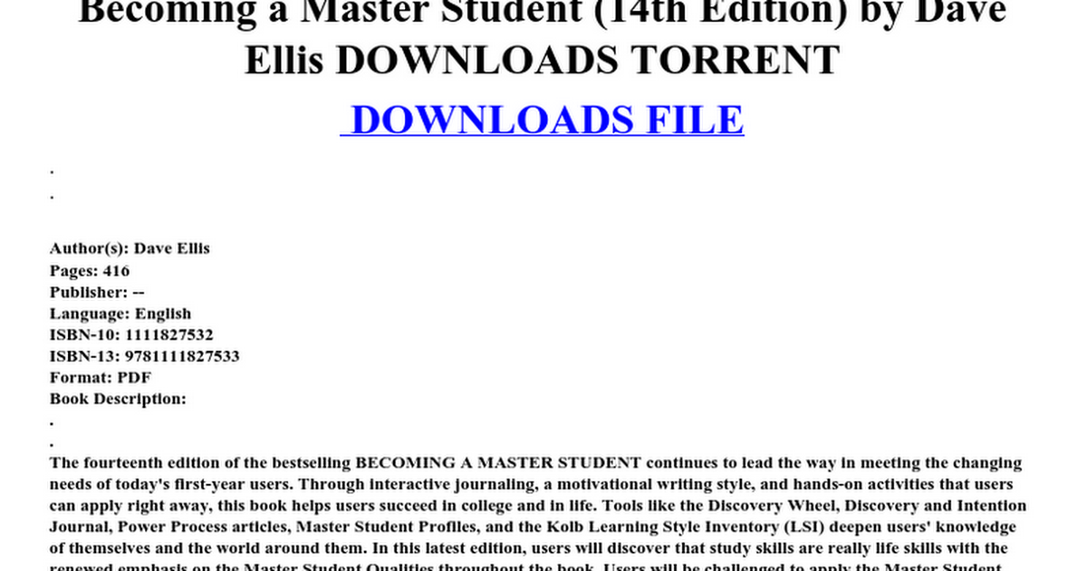 Becoming a master student 14th edition by dave ellis downloads becoming a master student 14th edition by dave ellis downloads torrent google docs fandeluxe Gallery