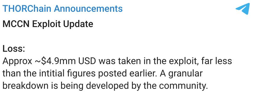 Annonce des pertes finales sur le Telegram de Thorchain
