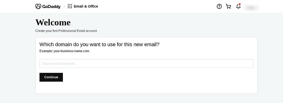 Trang cài đặt email GoDaddy để chọn miền.