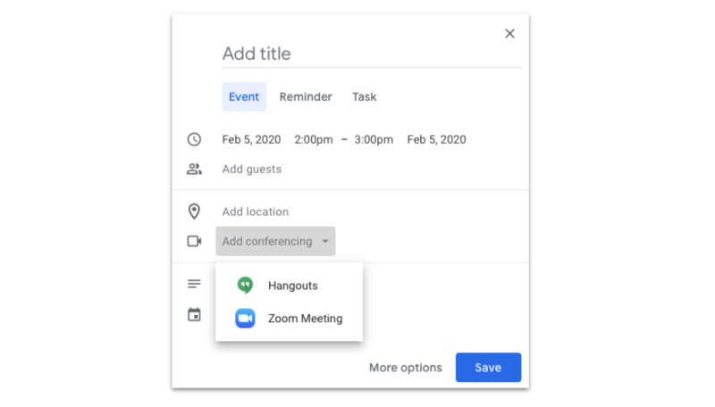 Zoom and Hangouts integrations allow you to add a conference call link to meetings