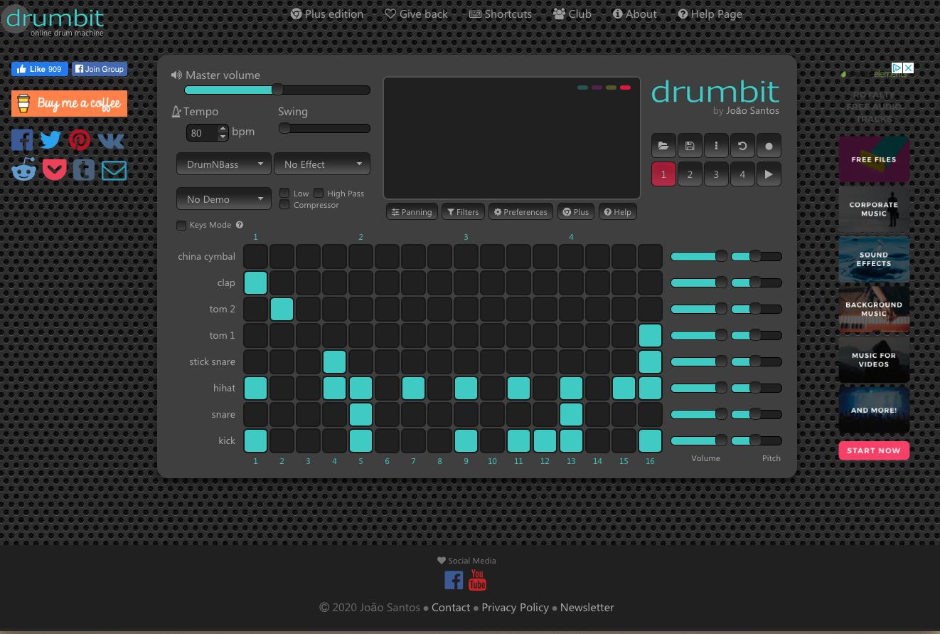boite à rythme online : drumbit