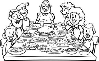 Image result for family dinner clipart black and white