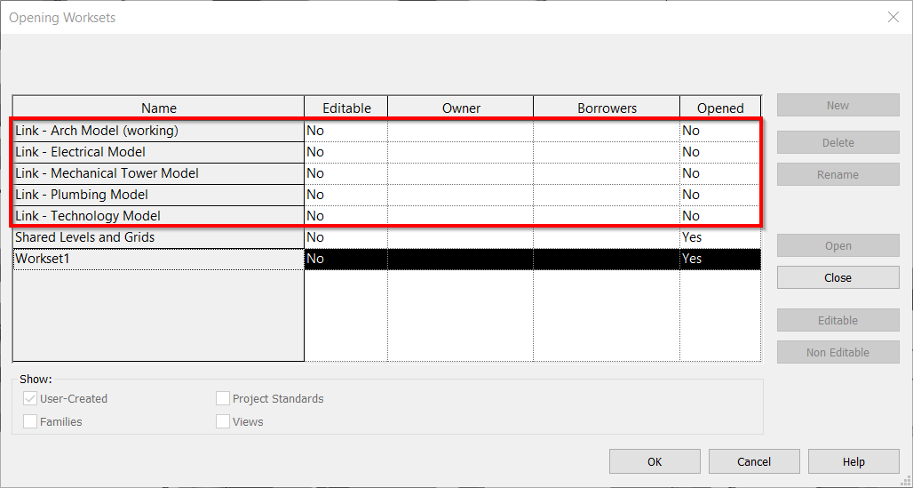 Revit Worksets