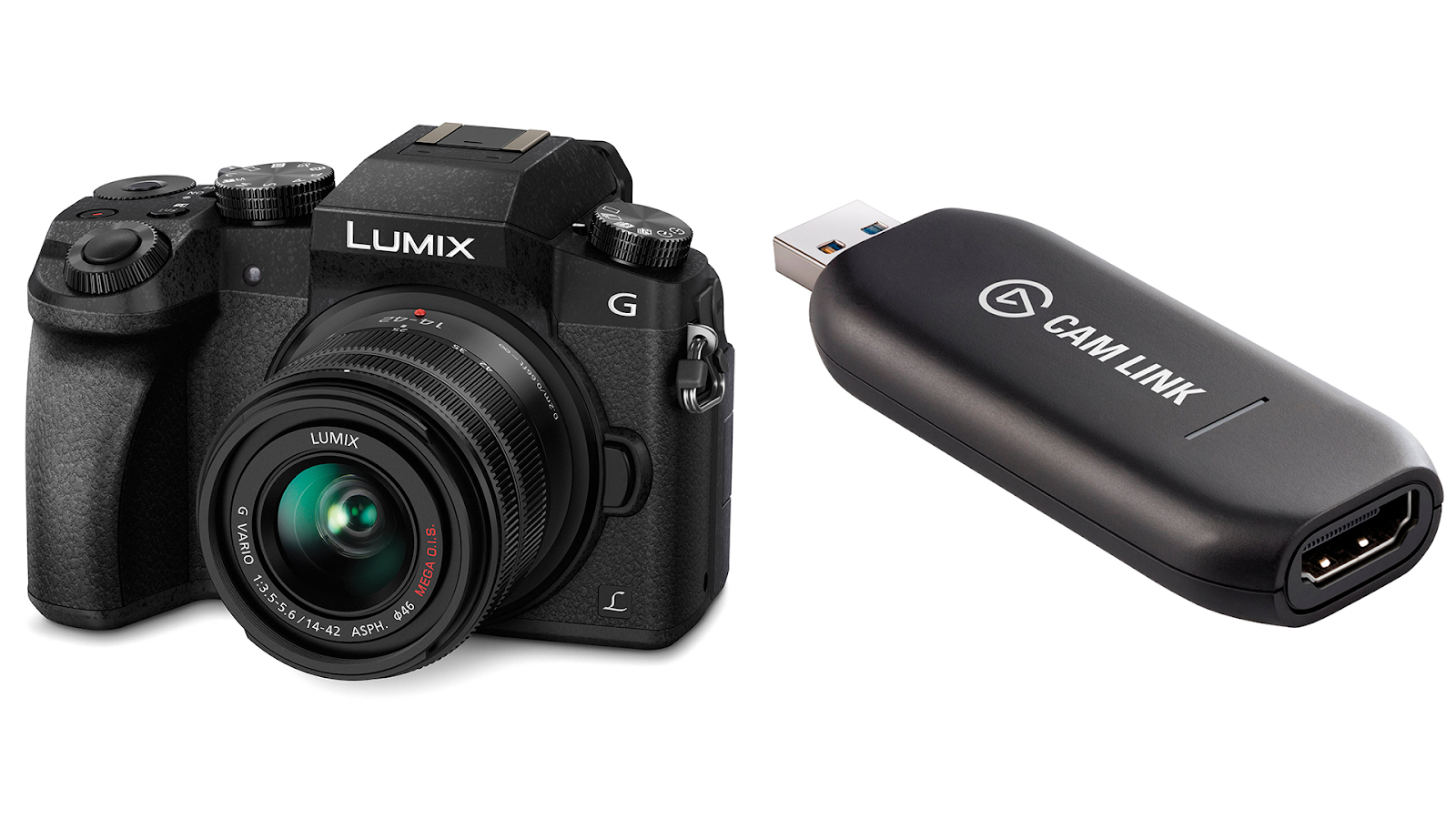 A digital video camera, the Panasonic Lumix G7, set alongside the Elgato Cam Link 4K, which looks like a small black USB dongle, set together against a white background. Used together these give you quality video for remote working
