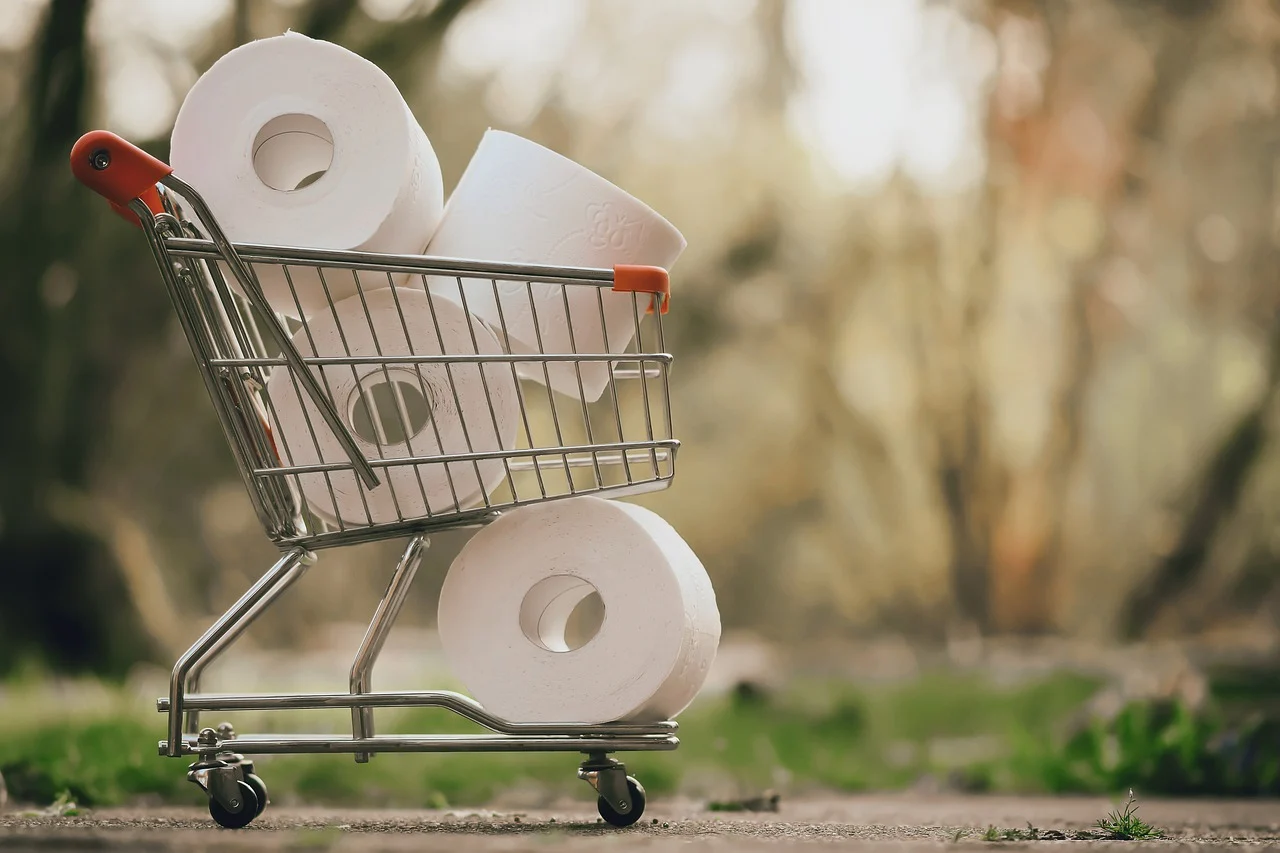 Healthy and Safety During Coronavirus - Shopping Trolley with Toilet Roll