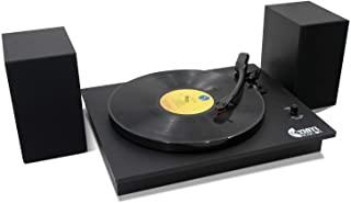 Bluetooth Vinyl Record Player with Powerful External Speakers, Nostalgic Turntable for 33⅓/45 RPM Record with Adjustable C...