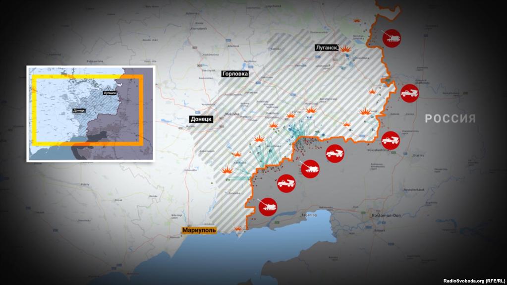 Карту обстрілів українських бійців і мирних жителів з території Російської Федерації склали в співтоваристві Bellingcat