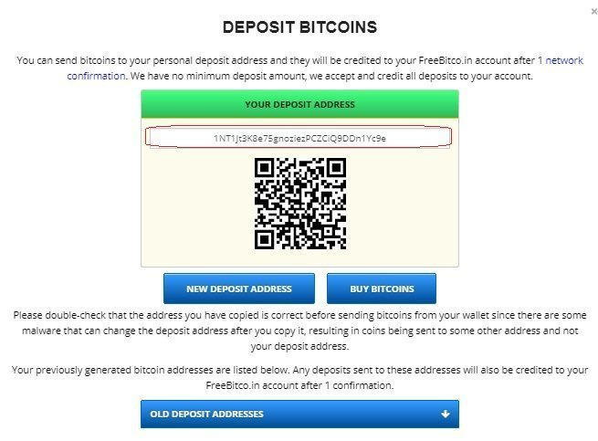 Deposit on Freebitcoin