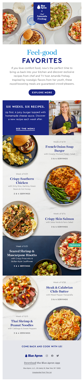 Email campaign example: Blue Apron