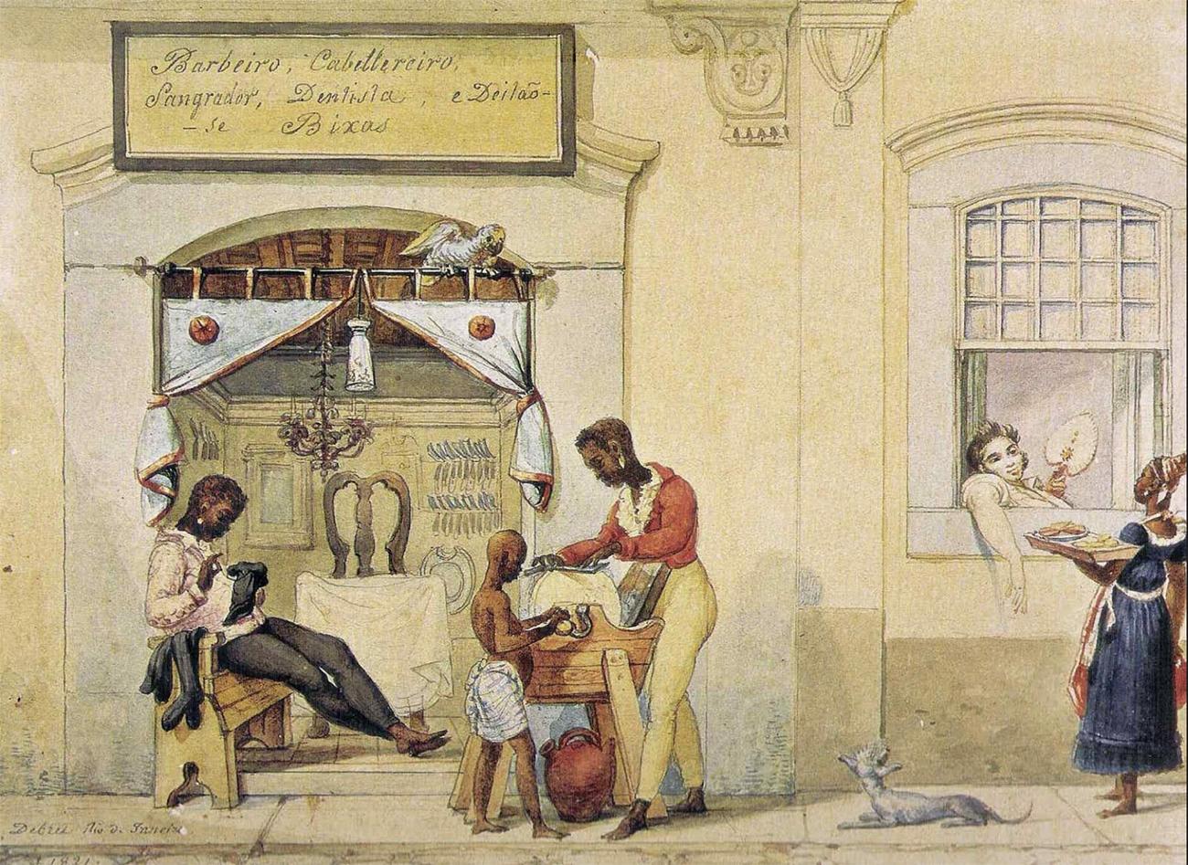 Debret retrata barbearia do Rio de Janeiro
