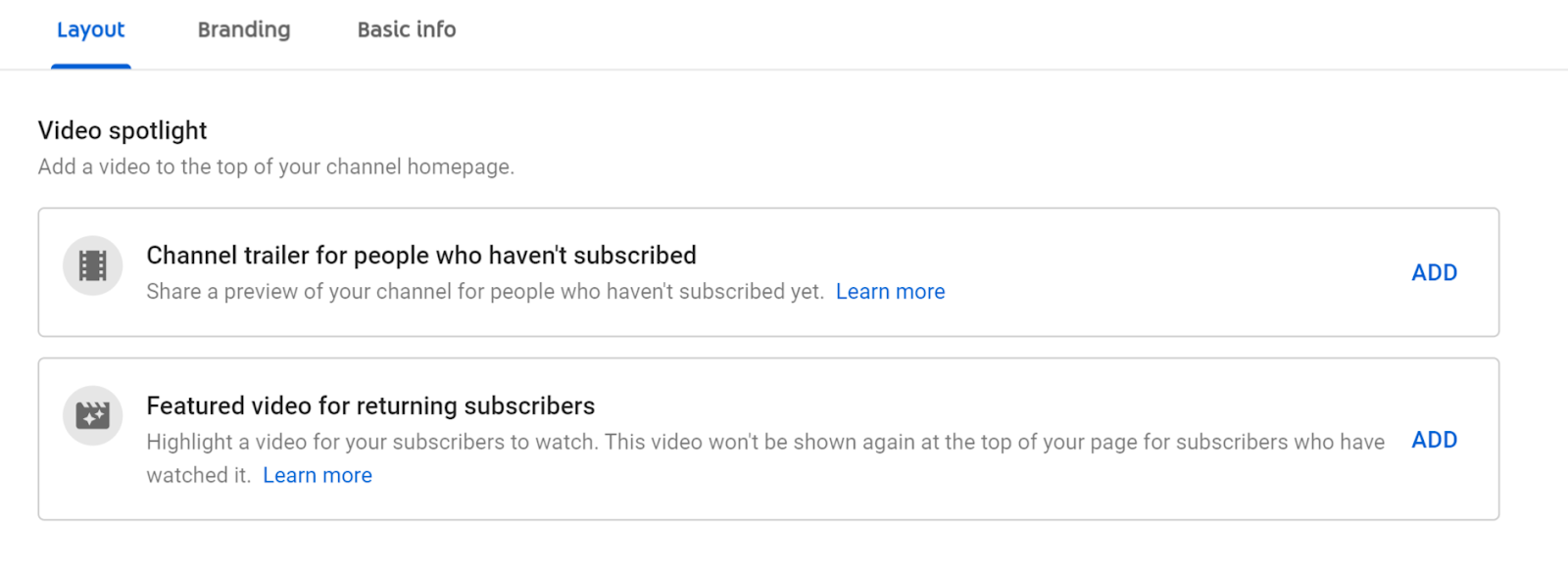 Settings to customize YouTube channel layout