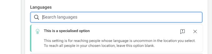 Facebook targeting based on language