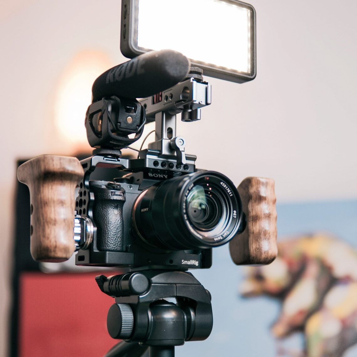 This is what a typical YouTube video set up might look like - this picture features a DSLR, a light and a microphone.