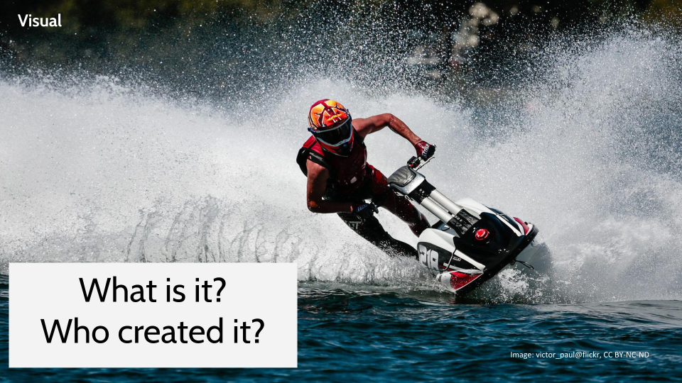 Image of a person on a jet ski with the questions: What is it? Who created it?