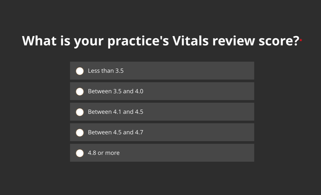 What is your practice's Vitals.com review score?