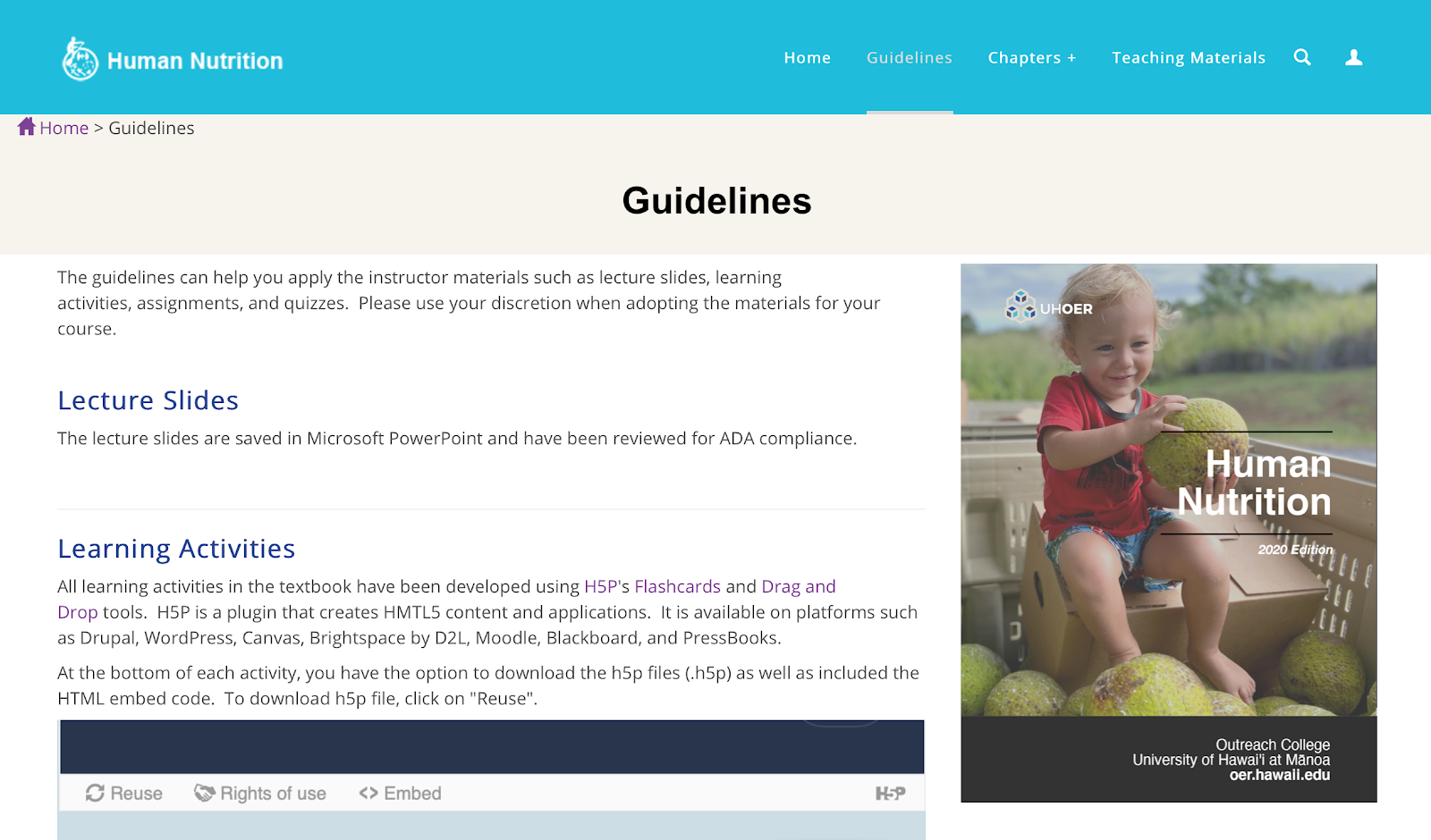 Screenshot of instructor website with guidance for new adoptions