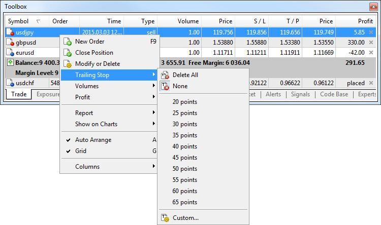トレール注文を有効にするには、ポジションのコンテクストメニューを開いて値を指定します。