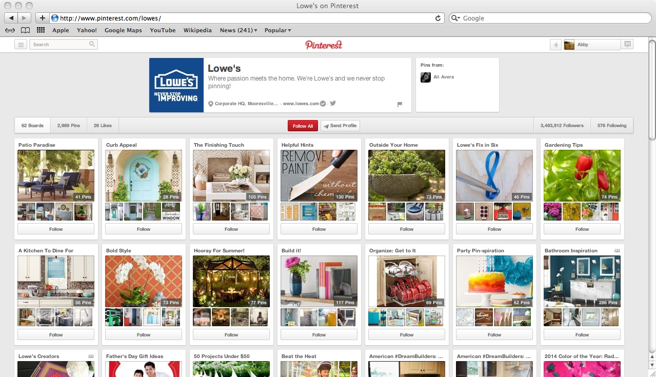 Business Pinterest Example