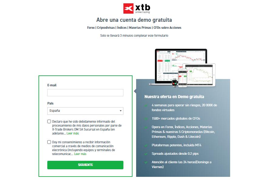 xstation5: Formulario cuenta demo XTB