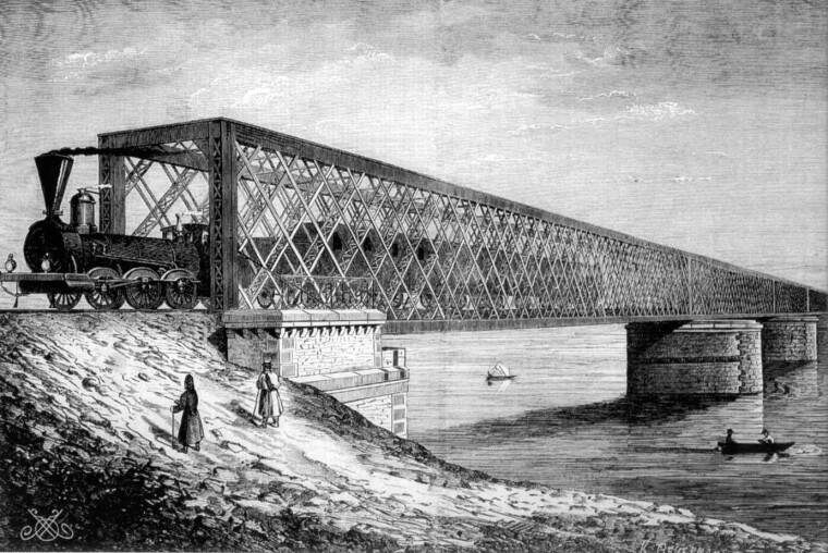 Дарницкий железнодорожный мост, построенный в 1870 г. Взорванный поляками при отступлении в июне 1920-го