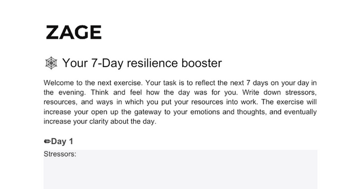 7 Day Resilience Booster