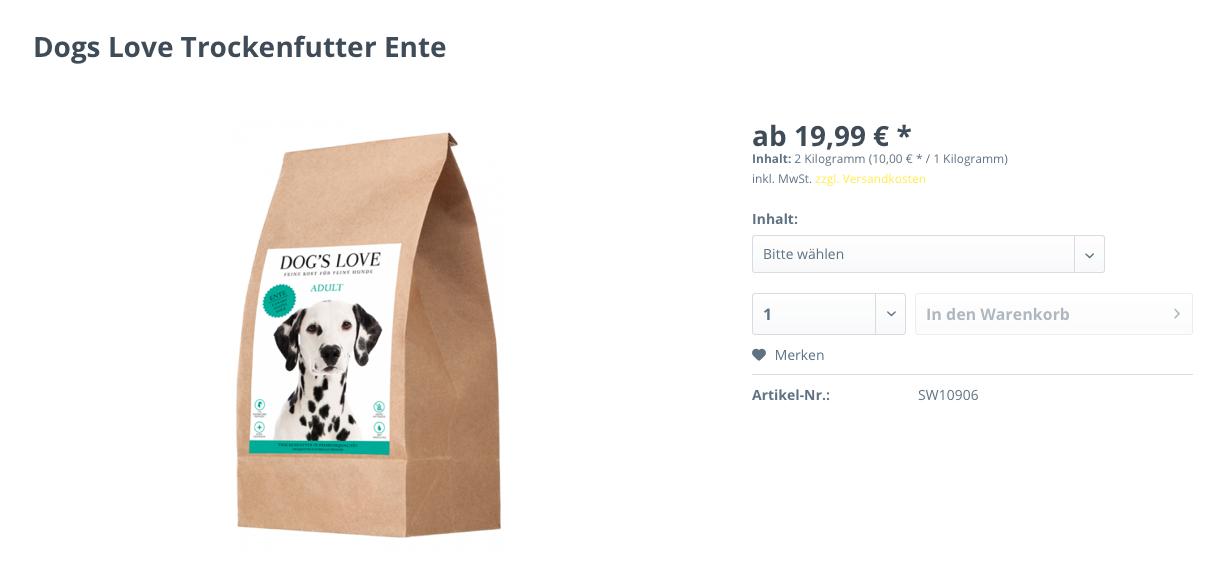 Dogs Love Trockenfutter Ente ist eines der besten getreidefreien Trockenfutter für Hunde.