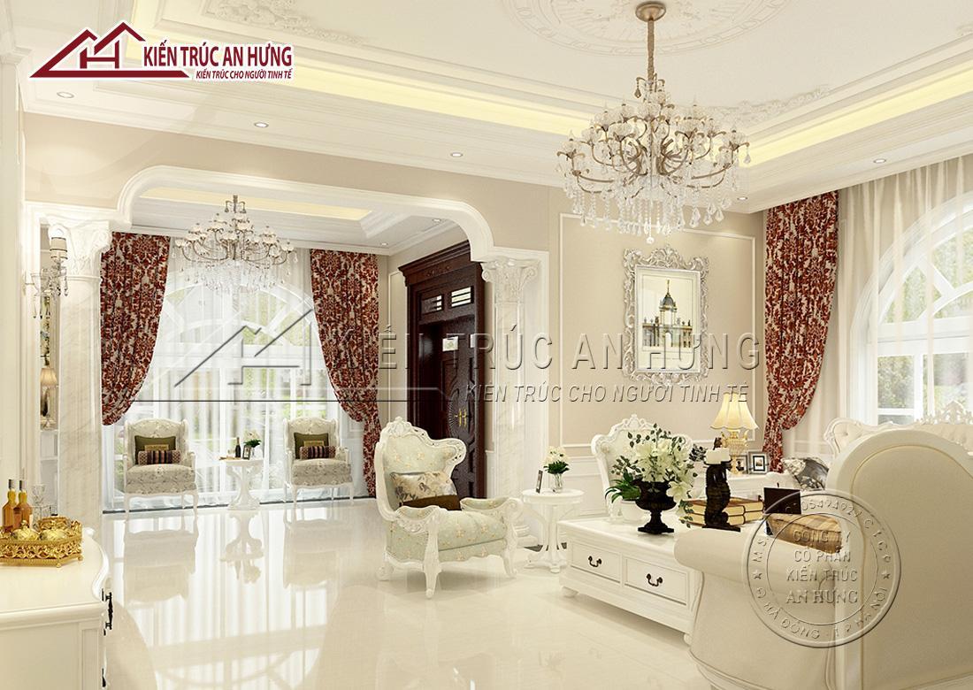 Phòng khách sử dụng tông màu be, trắng làm chủ đạo và tông màu nâu, đỏ đô làm điểm nhấn mang vẻ đẹp thanh lịch, sang trọng, quý phái