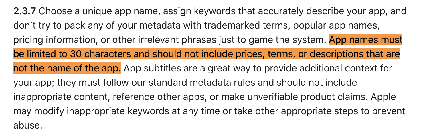 Apple explanation that app title can have a maximum of 30 characters and other information.